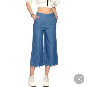 NWT English Factory Chambray Pleated Crop Pants